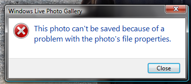 This photo can't be saved because of a problem with the photo's file properties.