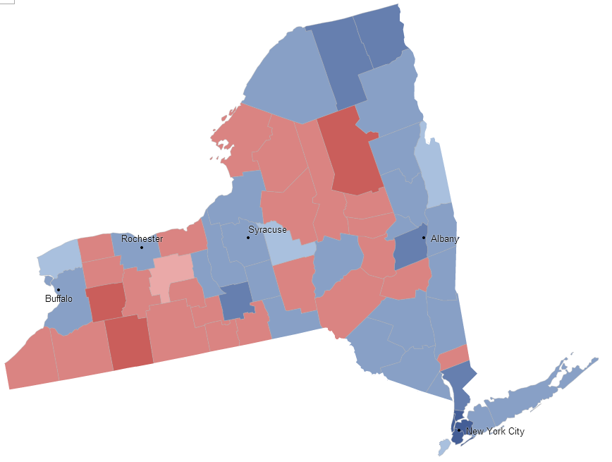 New York 2012 presidential election results by county