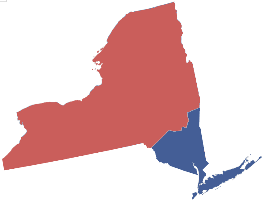 Theoretical 2012 presidential election results by upstate/downstate