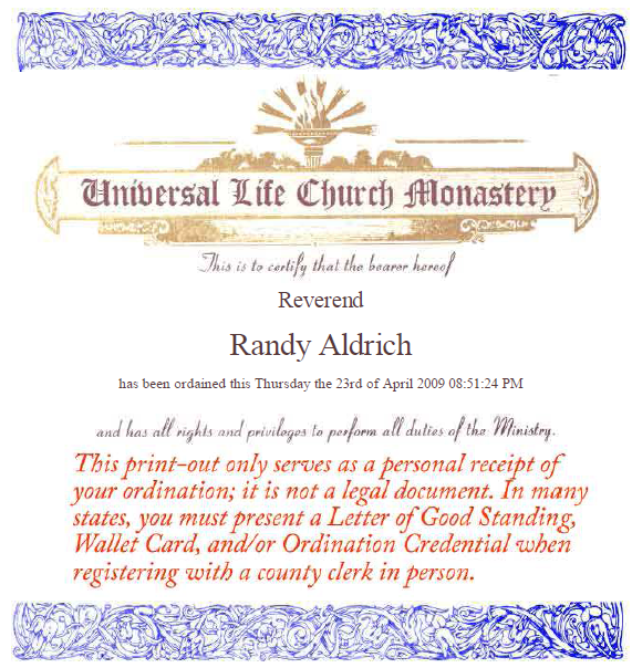 Reverand Randy Aldrich