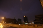 Lightning in the sky in downtown Rochester