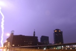 Lightning in front of the Aqueduct Building